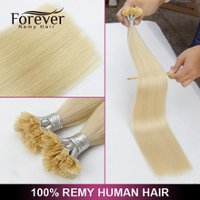 2017 new products color 613 flat tip hair extension wholesale virgin brazilian remy hair