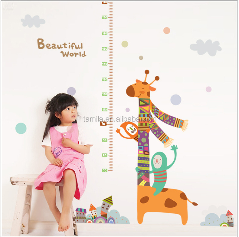 New Arrival Giraffe kids height measurement wall sticker growth chart,adhesive wall sticker