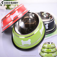 Red, Green, Black 3 Colors private label pet products pet carrier stainless steel/silicone dog bowl