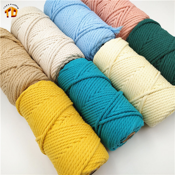 WHOLESALE 3strands colored cotton rope 4mm/50Meters Colored Macrame Rope cotton for 4mm
