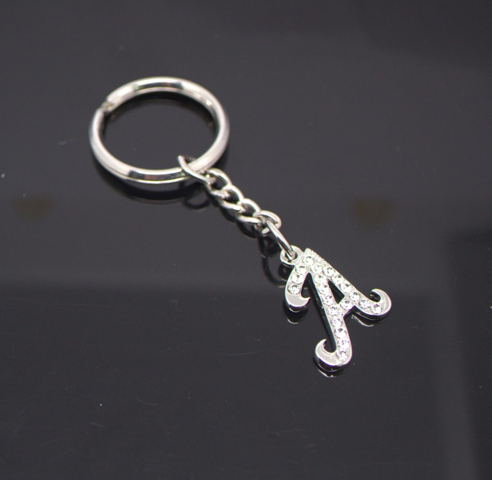 Personalized monogram bag key chain initial silver letter charm #11252