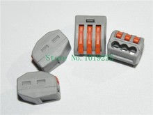 Wholesale (1000 pieces / lot) WAGO 222-413 Wire Wiring Connector 3 pin Conductor Terminal Block With Lever AWG 28-12