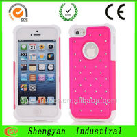 Hot pink shockproof protective case with PC silicone hybrid hard cover for iphone5