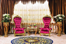 Luxury French Style Living Room Furniture Giltwood High Back Pink Armchair/Louis XV Style Carved Gold Leaf Chair With Table