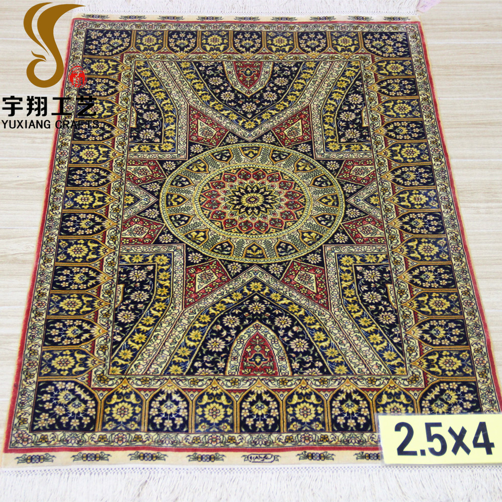 Yuxiang 2.5'x4' pure silk luxury handknotted high quality persian carpet handmade rugs