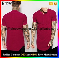burgundy scoop hem retro t-shirt clothing In Velour