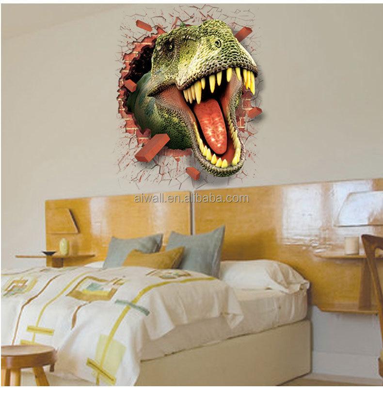 Venta caliente 3d dinosaurio pegatinas de pared para tv for Pegatinas 3d pared