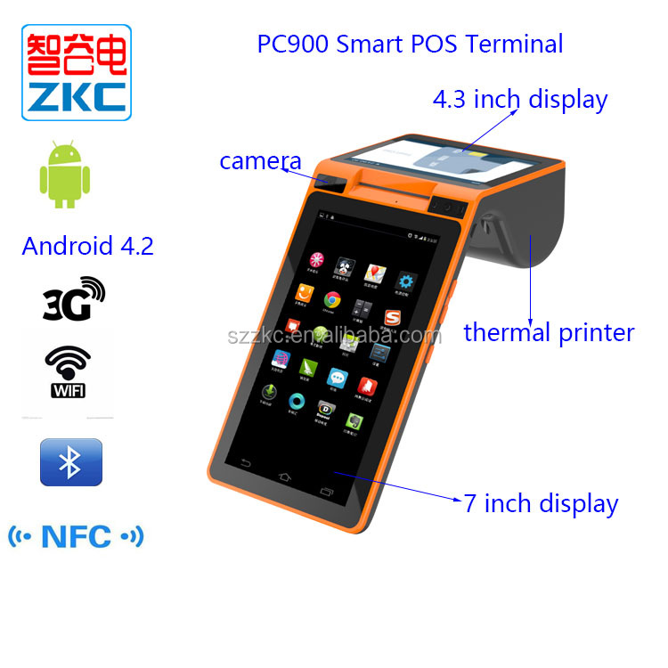 portable mobile pos terminal Android MPOS device with 58mm printer NFC reader