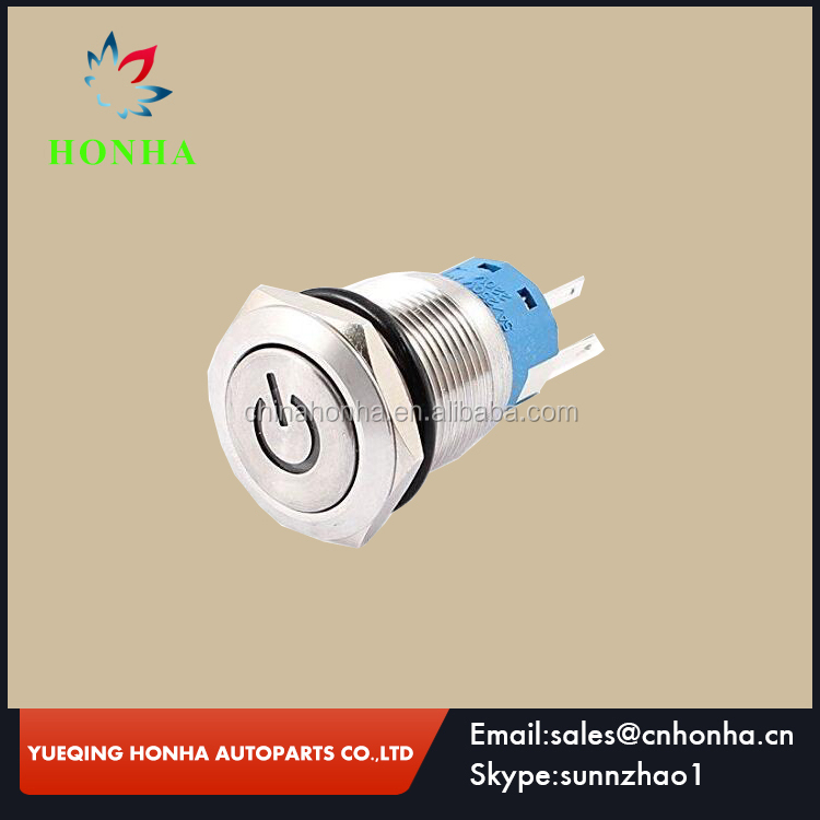 SPST 19mm Blue LED Locking Stainless Steel Push Button Switch 220V