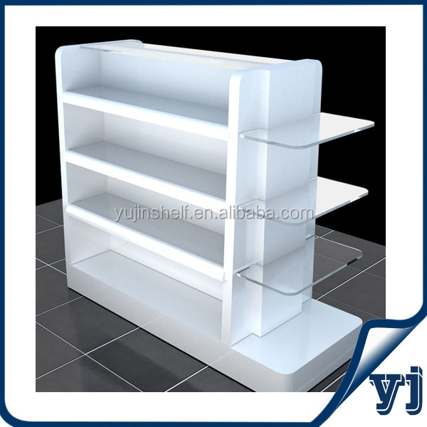 OEM design brand new creative double side MDF cosmetic store display with glass shelf/ cosmetic store wood glass display