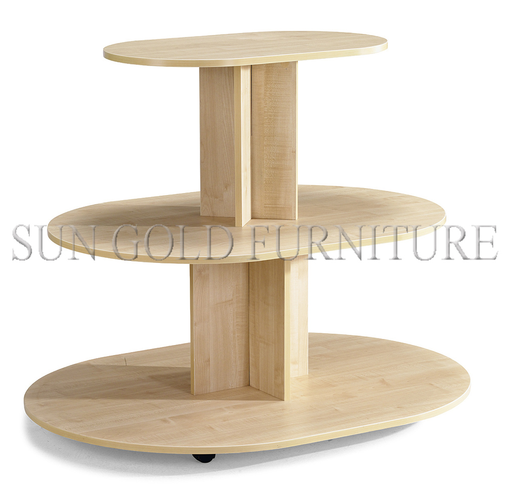 5 tier round wooden display table stand for clothing store for Html display table
