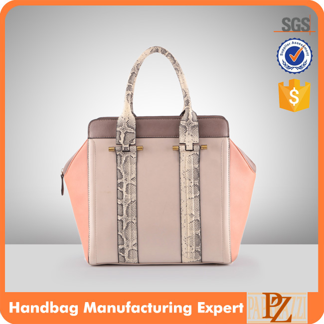 3876 Fancy Design Snake Skin Handles PU Material Fashion Handbag for Yound Lady