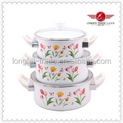 White Flowers Design Bakelite Handle Enamel Casserole Cookware Set