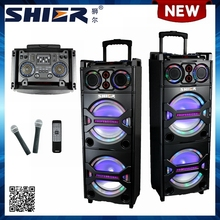 New Product Double 10 Inch USB Trolley DJ Stage Audio Speaker With Flashing Light