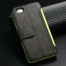stand leather cover for iphone 5 , flip cover case for iphone5 , Sports card holder case for iphone 5