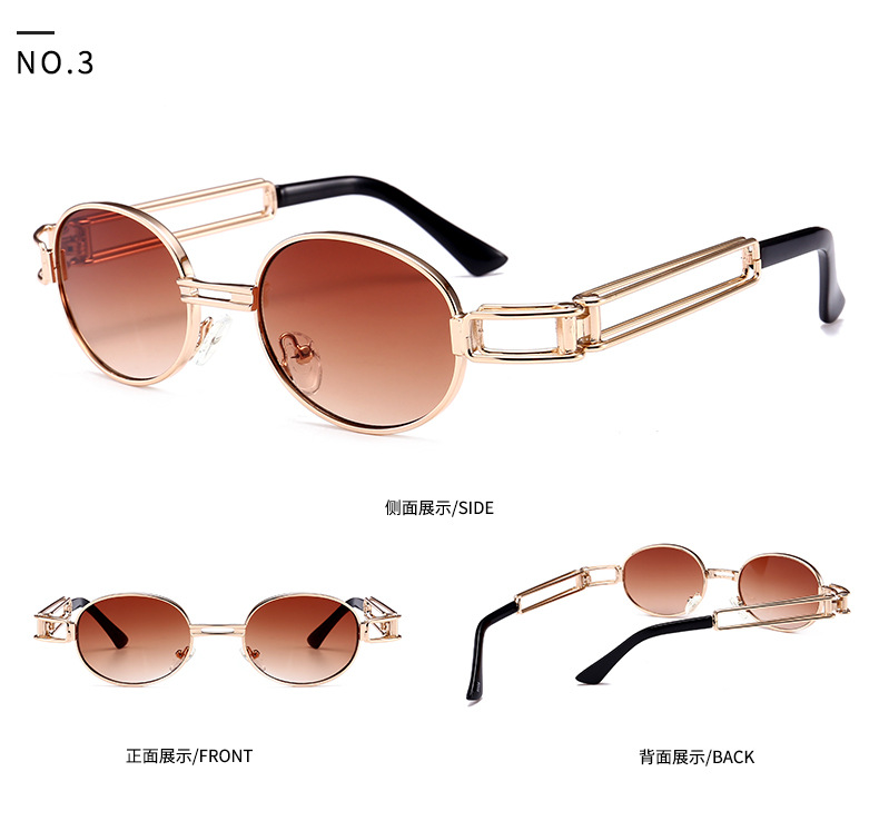 2019 retro steampunk sunglasses men round vintage metal frame gold black oval sun glasses for women red male gift