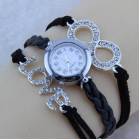 Valentine's Day Gift Love Crystal Watch Leather Bracelet & Cute Leather Watch Bracelet Anniversary Gift for Girlfriend