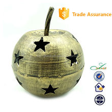 Xmas decoration Metal golden apple with star Christmas Tea lite holder