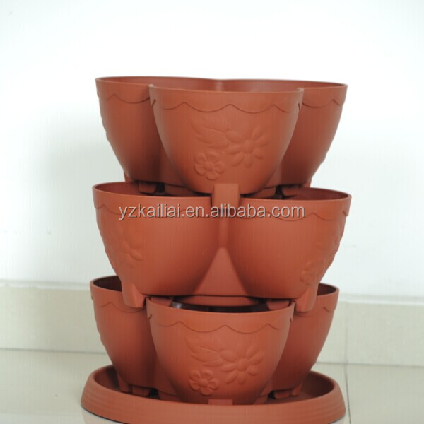 High quality plastic stackable flowerpot Strawberry Tower Wholesale Garden Supplies