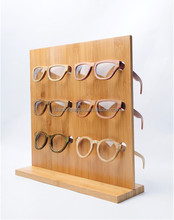 stock bamboo sunglasses display, custom design wooden sunglasses display racks DS003