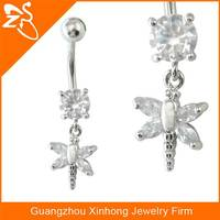BR01848 Fashion crystal dangle fake belly button rings jewelry wholesale