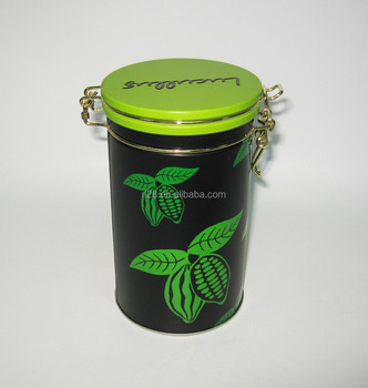 Tea coffee airtight tin can with metal wire clip