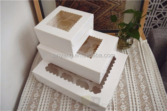Cupcake Boxes with Clear Window & Removable Insert for 4 6 12 Cupcake Packaging