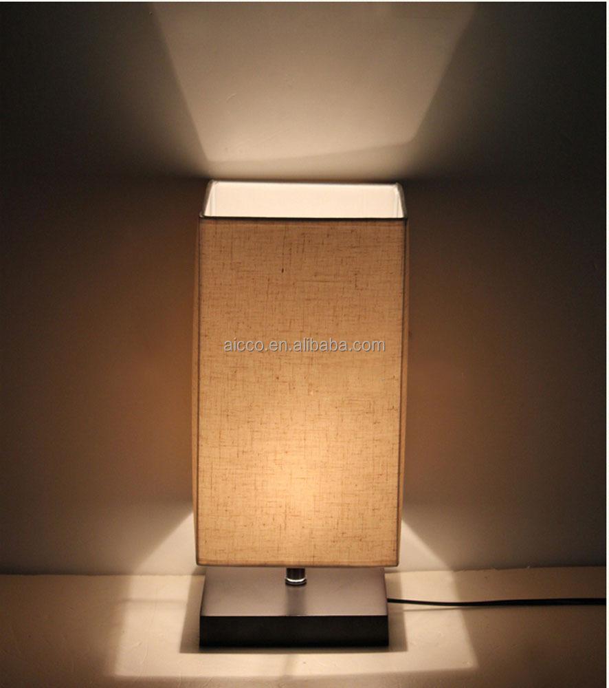 moderna lampada da tavolo in legno con biancheria ombra decorativi ...