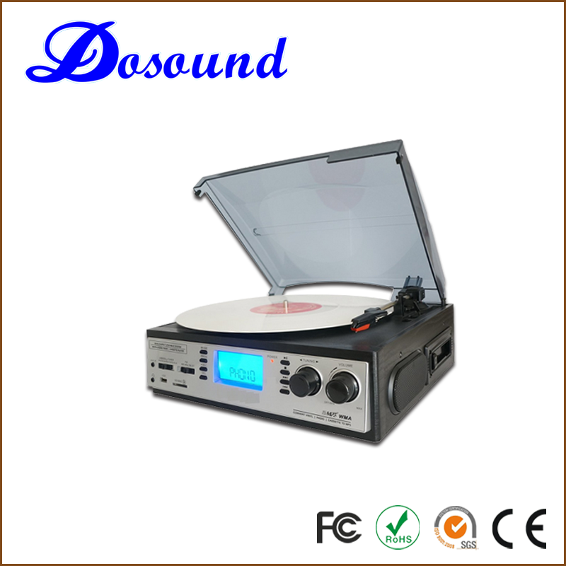 OEM&ODM Multi Audio turntable cassette radio cd record player with optional external speakers