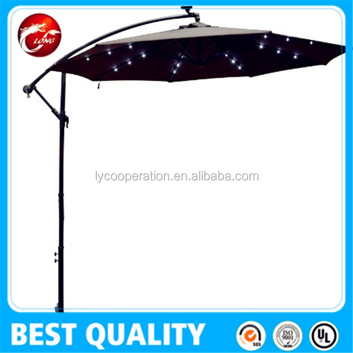 outdoor solar charger crank umbrella with LED Light & USB Function