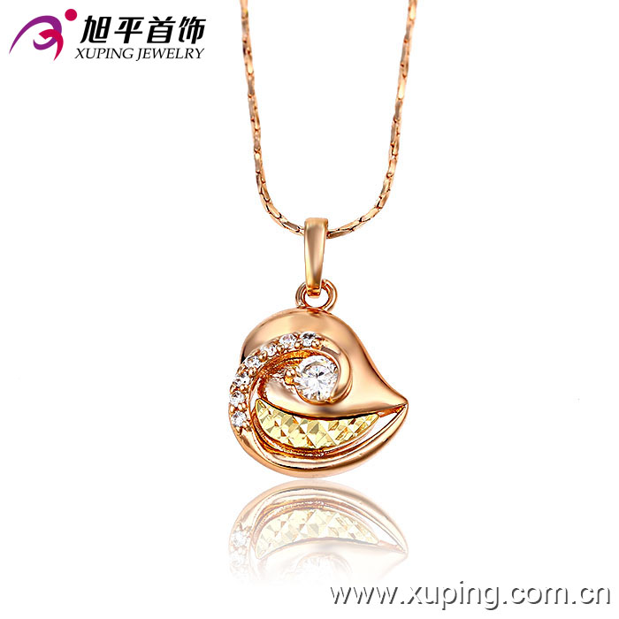 32109 Xuping designer gold plated lip shape gold designs inlay white diamond pendant jewelry