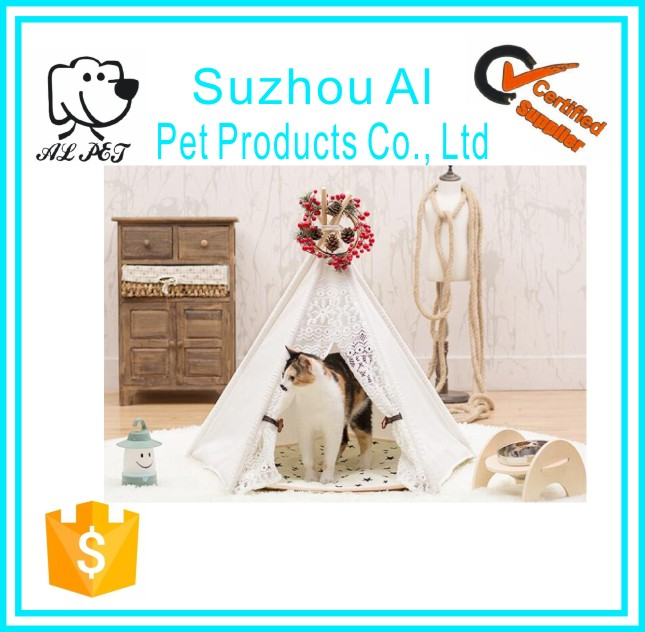 Portable Luxury Cat Dog Tent Bed Pet House With Cushion