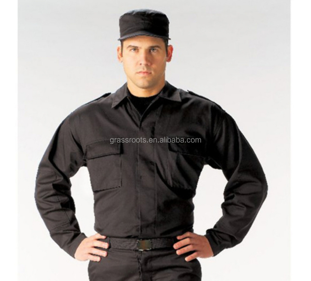 Black autumn man Security guard unifroms wholesale/OEM cotton security guard uniform color