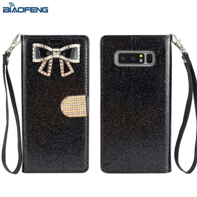 Bling Kickstand Shell Wallet Flip Mobile Back Cover Leather Phone Case For Samsung Galaxy Note 8 Case