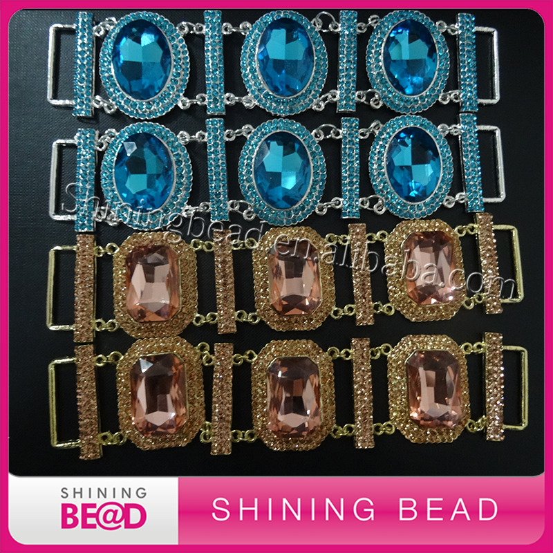 Hot Sale Fashion Wholesale beautiful rhinestone glass buckle bikini connector for Swimming Wear Shoe Buckle