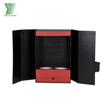 Leather cardboard wine box 2 3 bottles with foam insert