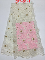 Pure white design french lace fabric with gold beads for making wedding dress
