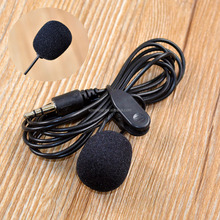 150cm Clip Microphone Black Hands On Mini Lapel 3.5mm Mic For PC Notebook Laptop