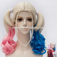 New Arrival Film Movie Suicide Squad Harley Quinn Cosplay Costume Wig Batman Clown Curly Gradient Wigs