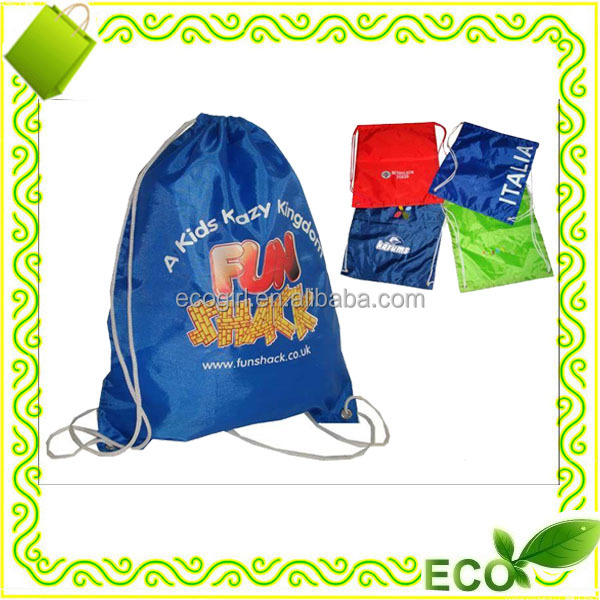 wholesale OEM eco-friendly heat transfer printing sports traval backpack drawstring tote shopping nylon bag