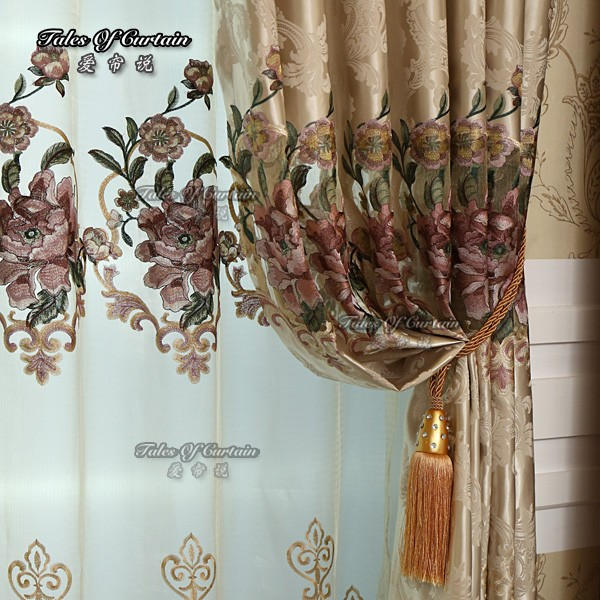 Curtain factory with luxury and oriental flowery jacquard curtain fabric
