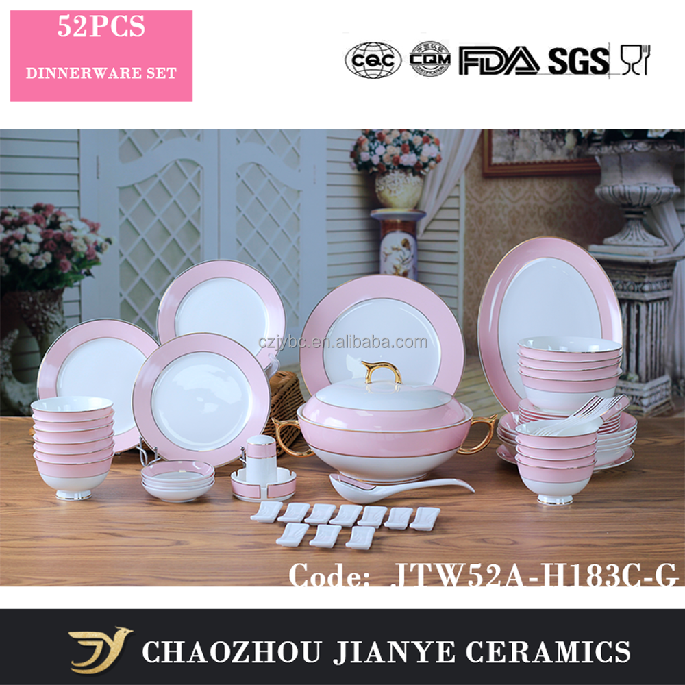 Fine Bone China Pink Decal Gold Painted Dinner Set Porcelain Dinnerware Set Of 52 Pcs