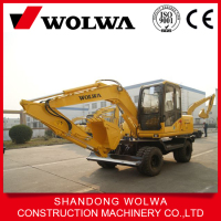 8 ton small wheel excavator with changed grapper on sale