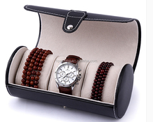 Wholesale Rolling Black Leather Watch Travel Case In Stock