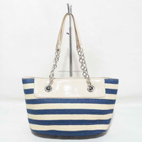 High grade metal chain with PU handle mag snap closure girls stripe straw beach tote bag 2016