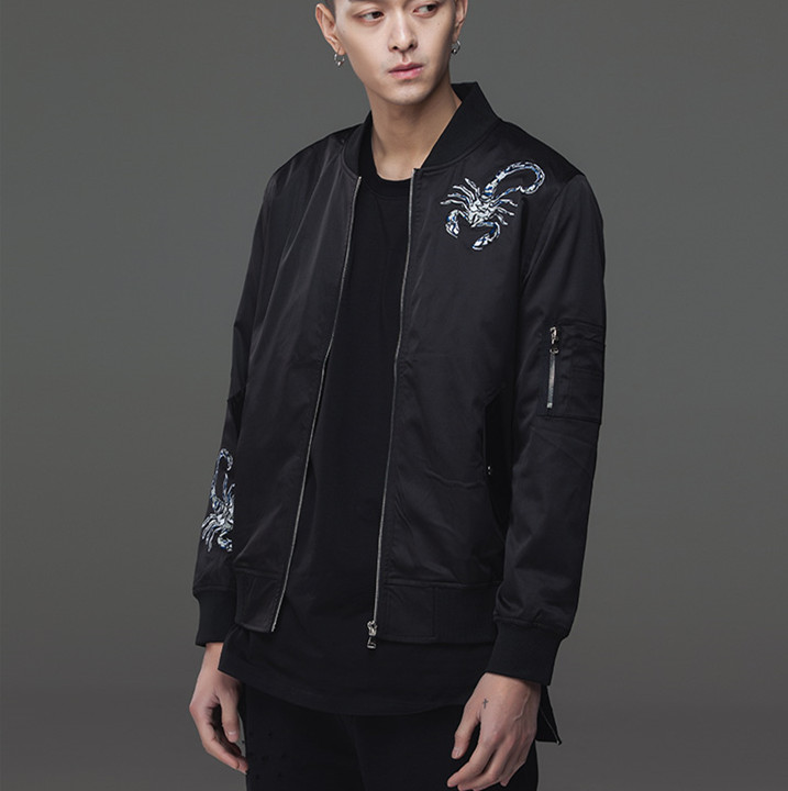 2017 Autumn Thin Jackets Custom 100% Nylon Bomber Jacket High Quality Embroidery Pilot Jacket For Men