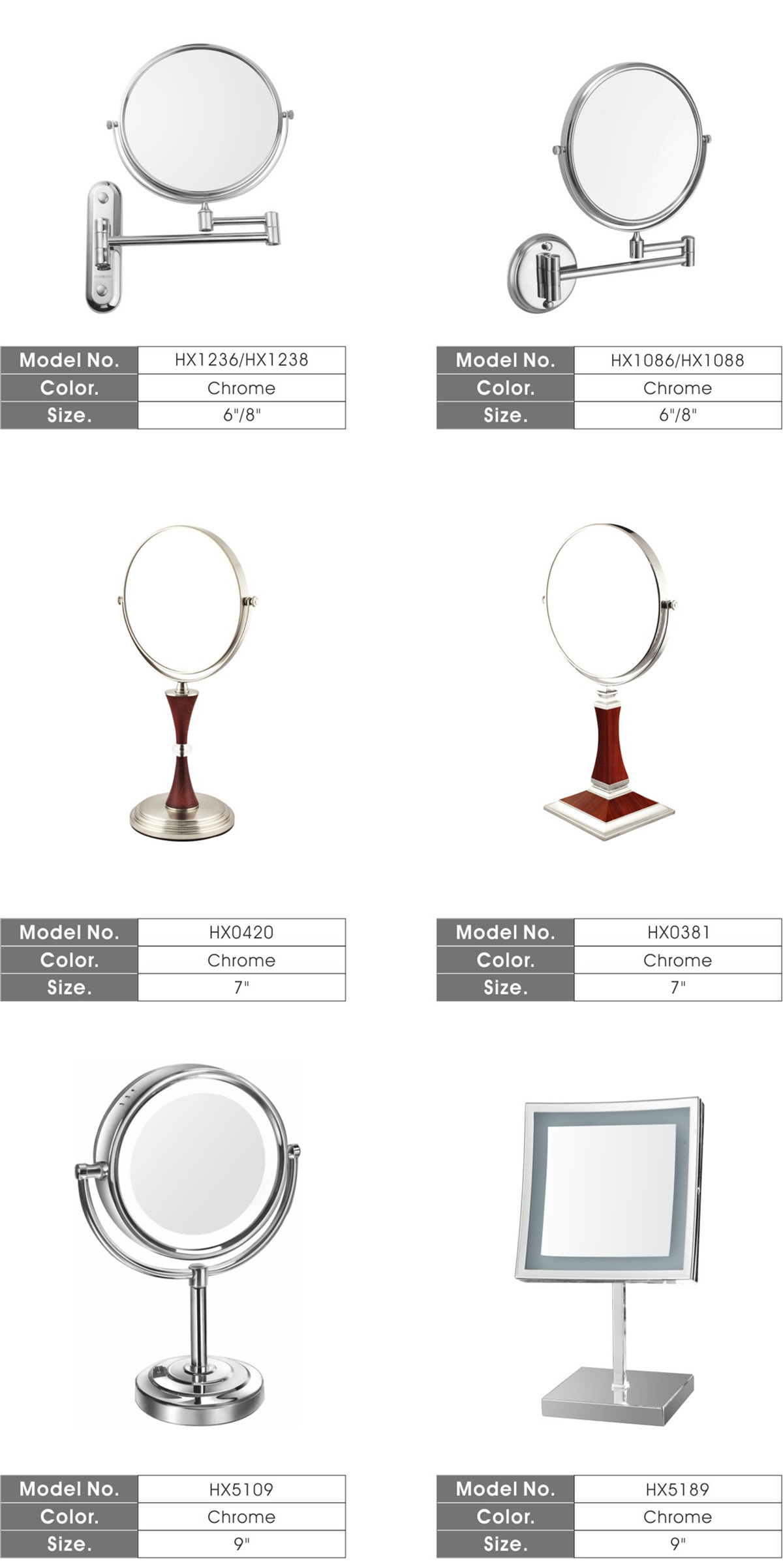 6 Inch Wall-Mounted Cosmetic Mirror/ Beauty Mirror