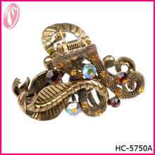 India popular gorgeous metal rhinestone hair claw clips for long hair