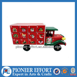 Christmas decorations advent calendar truck shape cabinet with 24 drawers