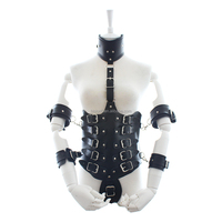 2016 Unique Black Lingerie Bondage Body Harness With Collar Hand Cuffs Chastity Sexy Underwear Restraint